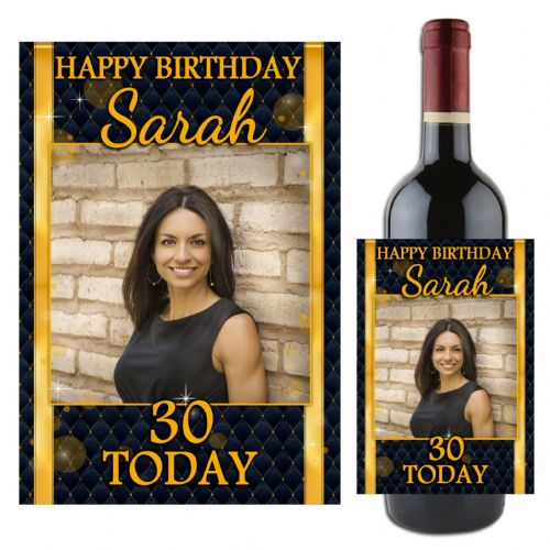 Personalised Black & Gold Diamond Sparkle Happy Birthday Wine / Champagne Bottle PHOTO Label N106